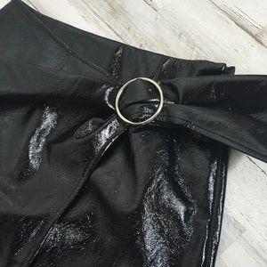 J.O.A. Skirts - J.O.A. Faux Leather Wrap Mini Skirt Belted Black